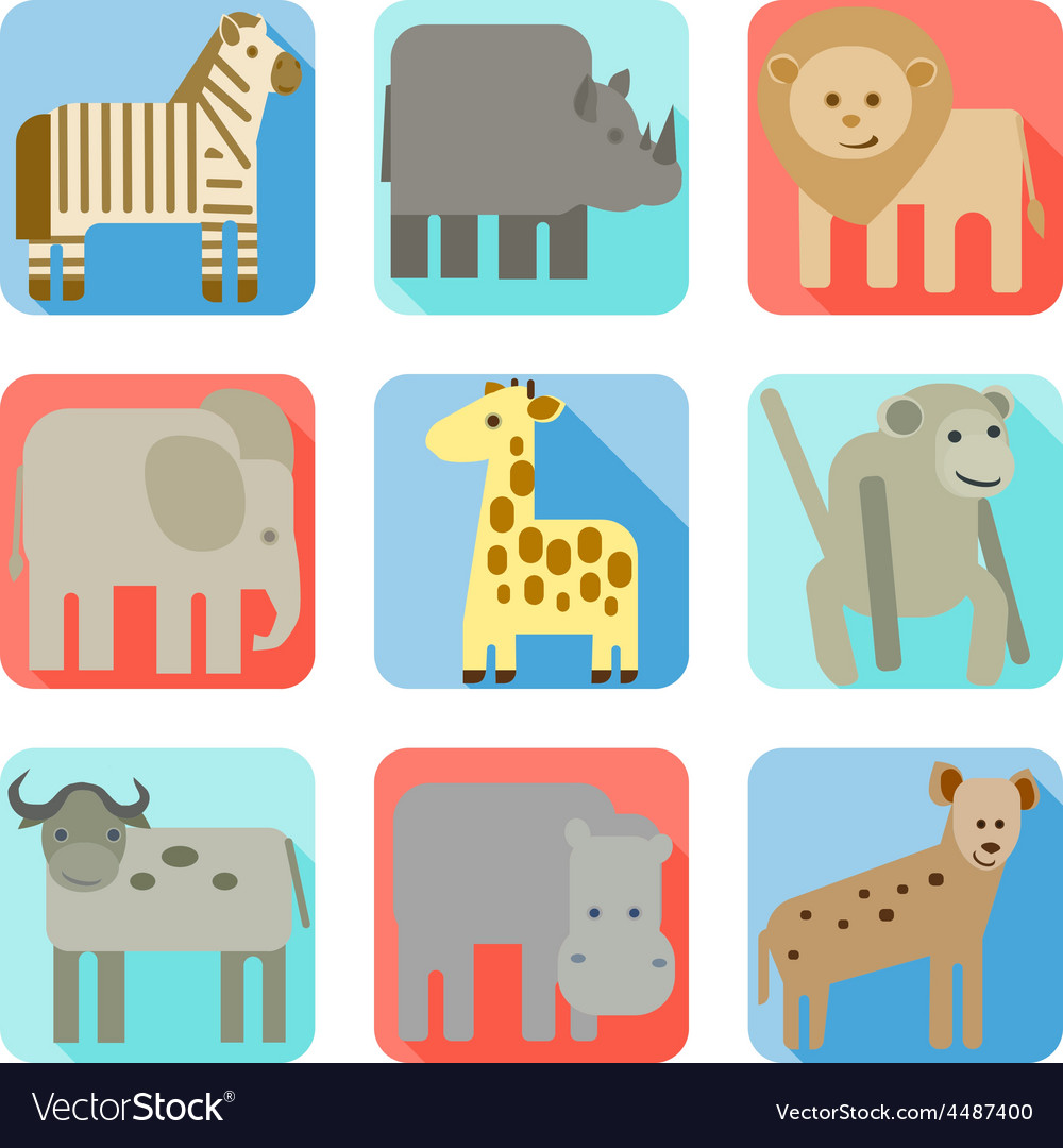 Icons wild animals of africa vector | Price: 1 Credit (USD $1)