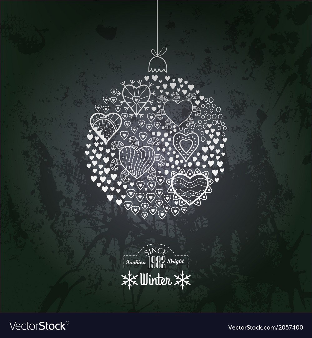 Ornate christmas ball made of hearts romantic vector | Price: 1 Credit (USD $1)