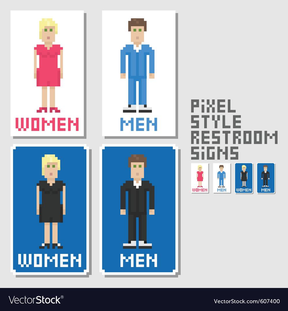 Restroom signs pixel art style vector | Price: 1 Credit (USD $1)