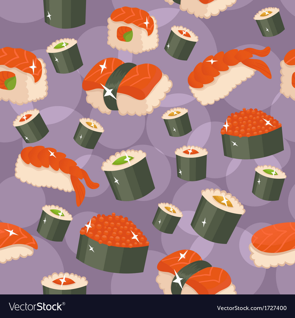 Seamless sushi background vector | Price: 1 Credit (USD $1)