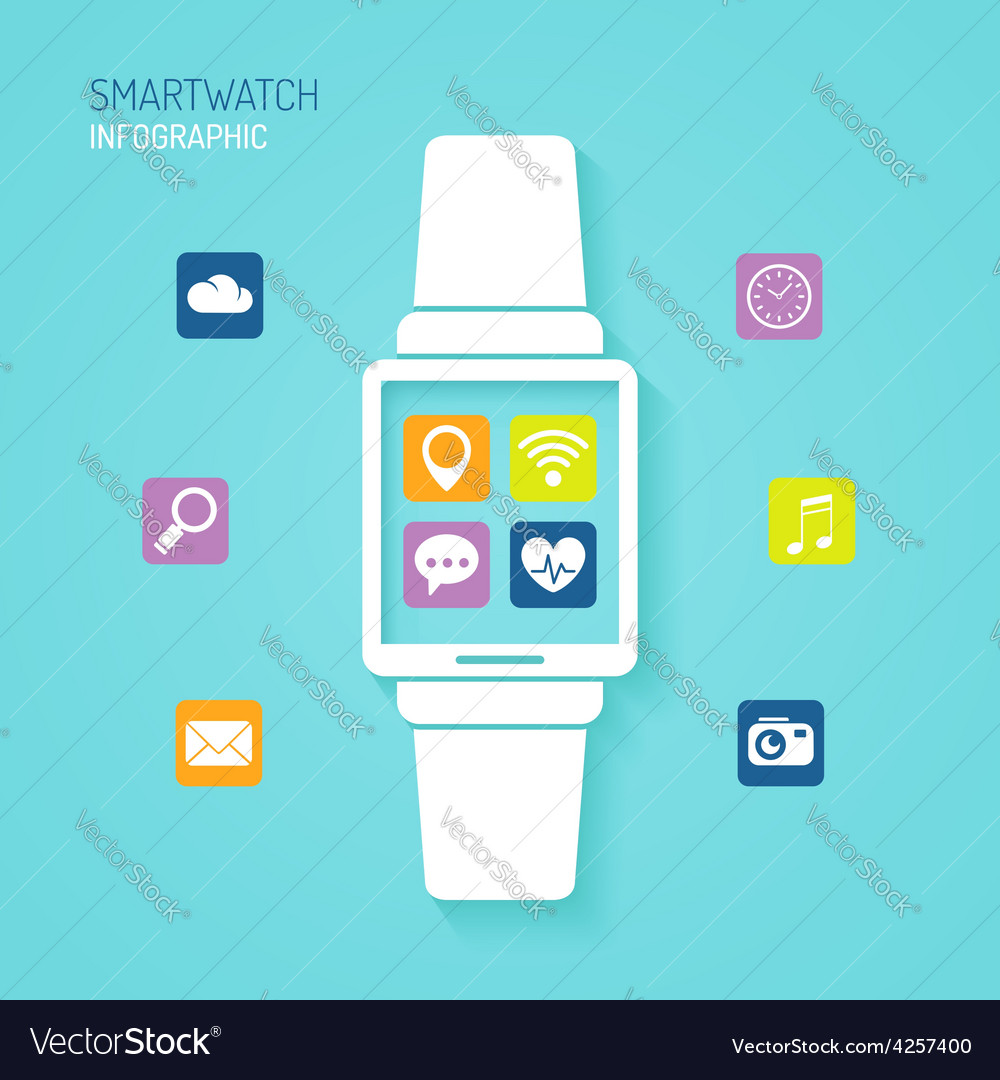 Smart watch wearable device with apps icons vector | Price: 1 Credit (USD $1)