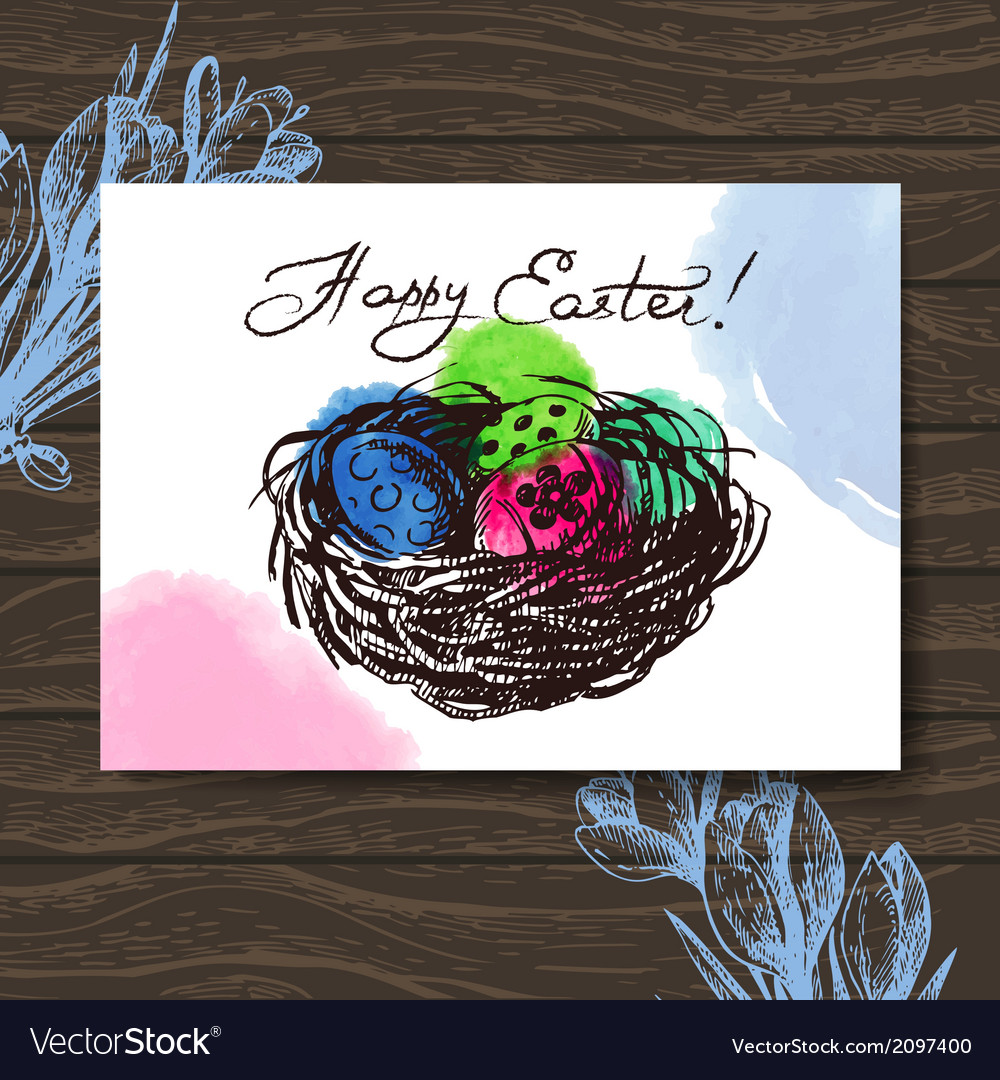 Vintage easter greeting card hand drawn sketch vector | Price: 1 Credit (USD $1)