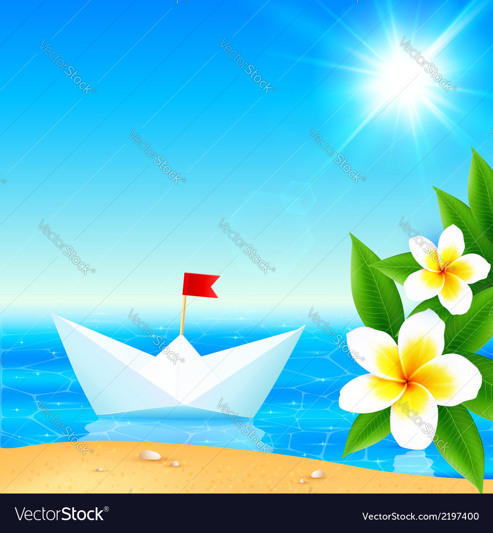 White paper boat near blooming tropical island vector | Price: 1 Credit (USD $1)