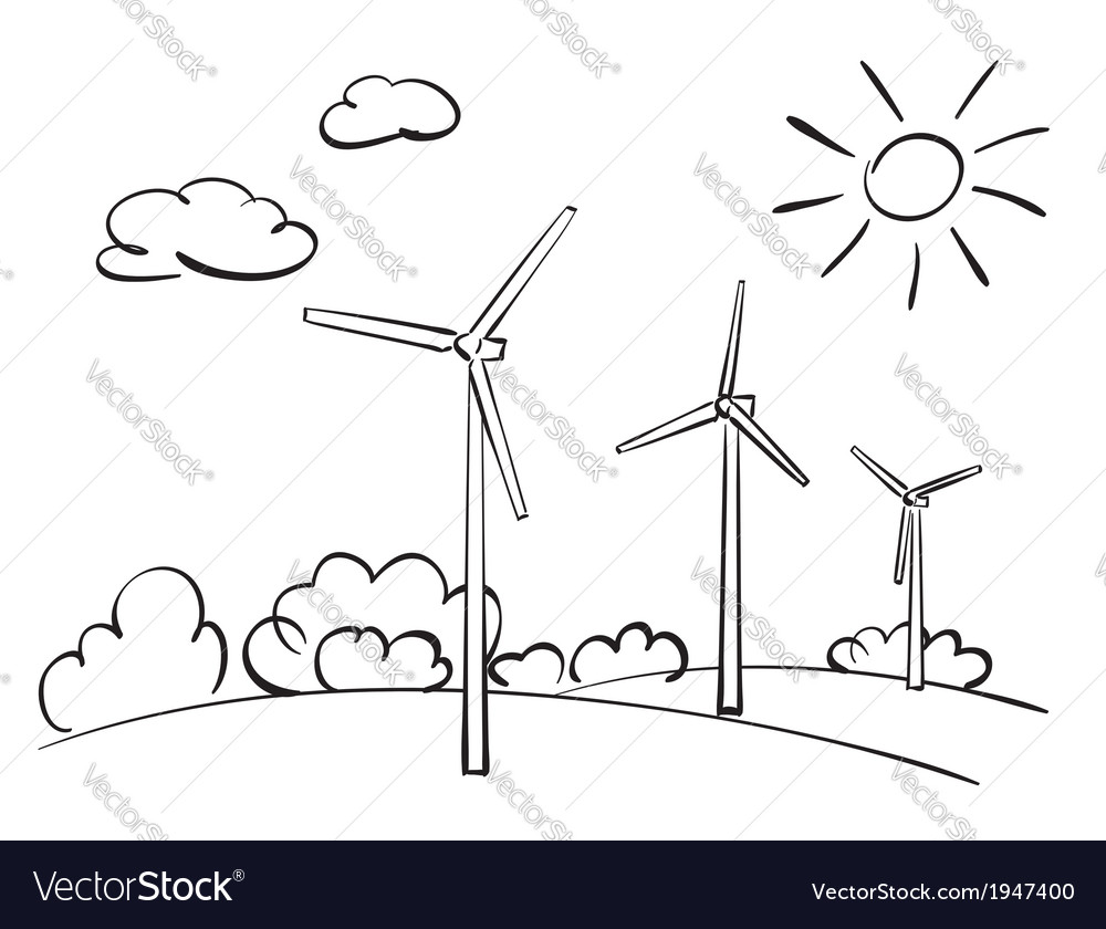 Wind turbines and nature vector | Price: 1 Credit (USD $1)