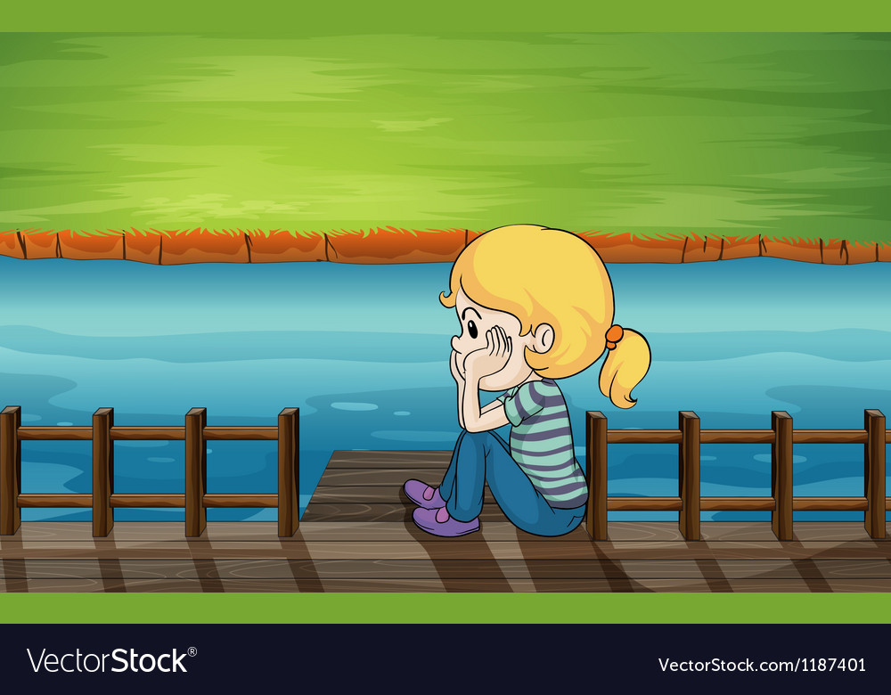 A little girl at the bridge vector | Price: 1 Credit (USD $1)