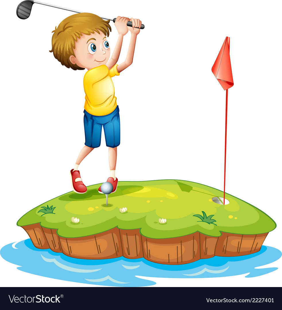 A young man playing golf vector | Price: 1 Credit (USD $1)
