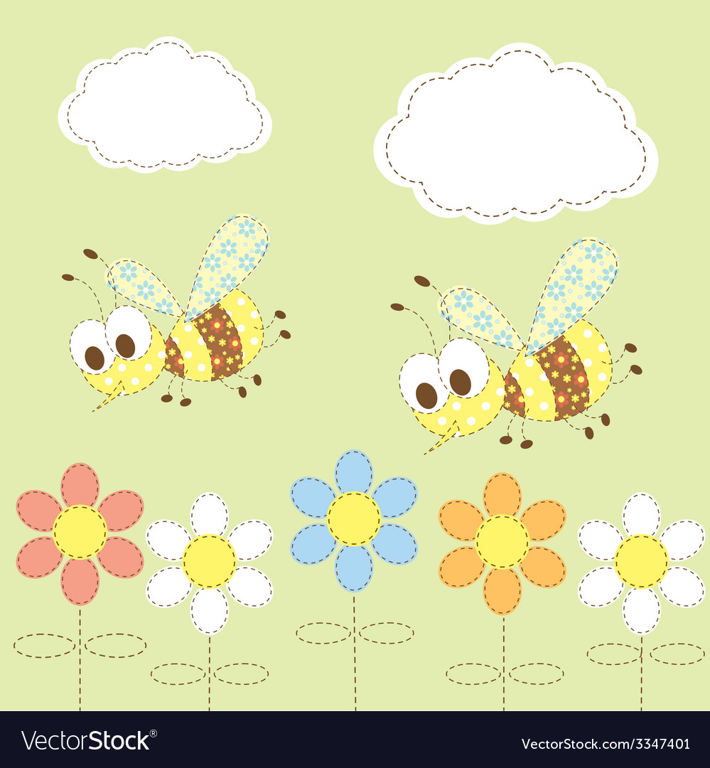 Baby background with bees vector | Price: 1 Credit (USD $1)