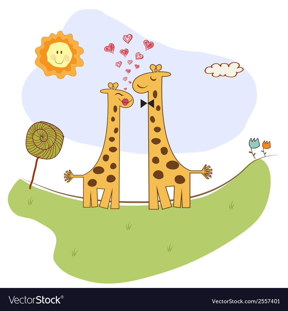 Funny giraffe couple in love vector | Price: 1 Credit (USD $1)