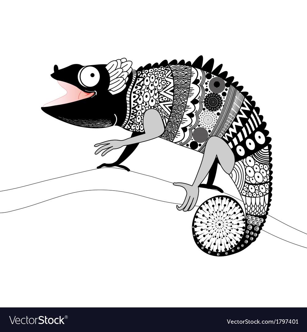 Graphic ornamental chameleon vector | Price: 1 Credit (USD $1)