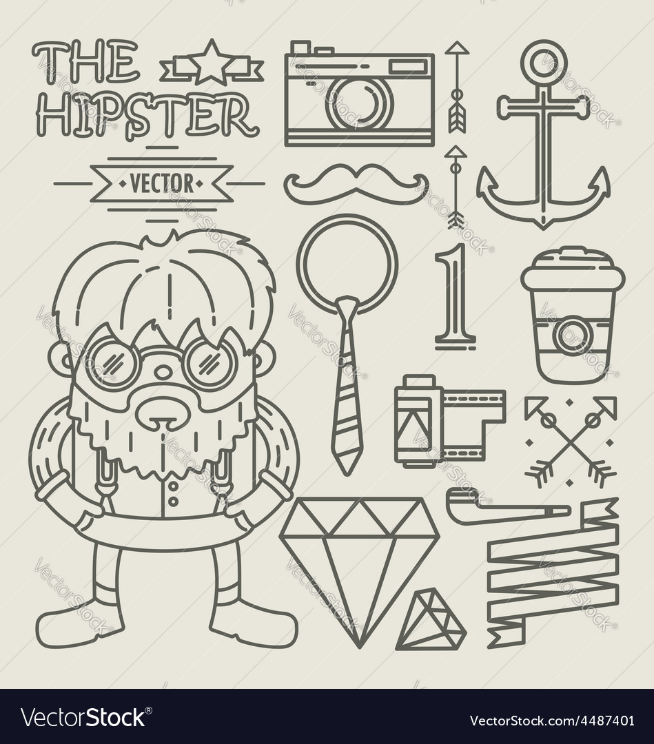 Hipster character design linear vector | Price: 1 Credit (USD $1)