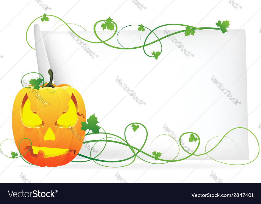 Laughing pumpkin head and a sheet of paper vector | Price: 1 Credit (USD $1)