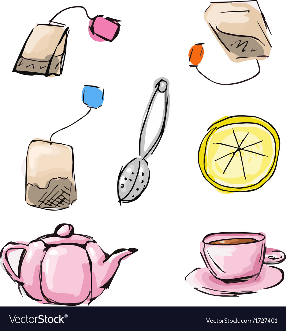 Sketch of tea icons vector | Price: 1 Credit (USD $1)