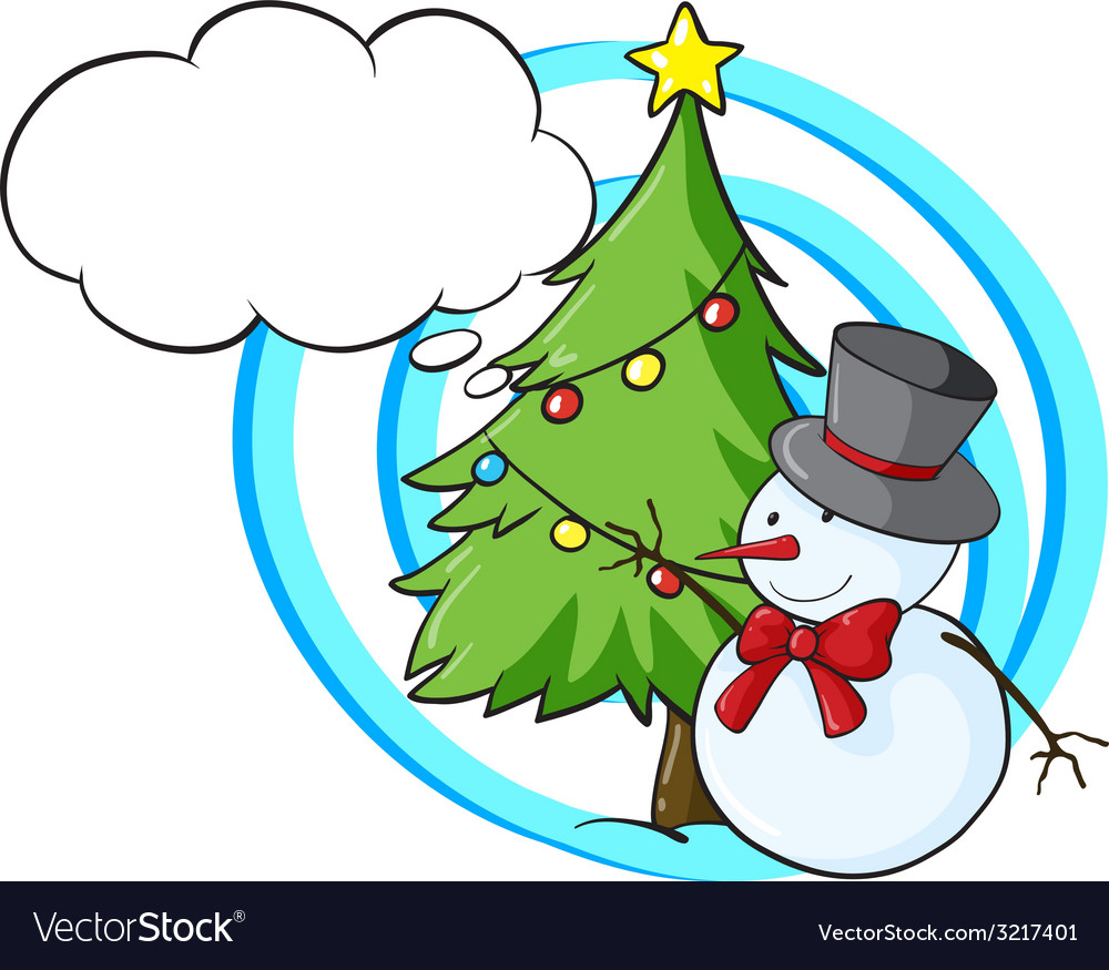 Snowman and christmas tree vector   Price: 1 Credit (USD $1)