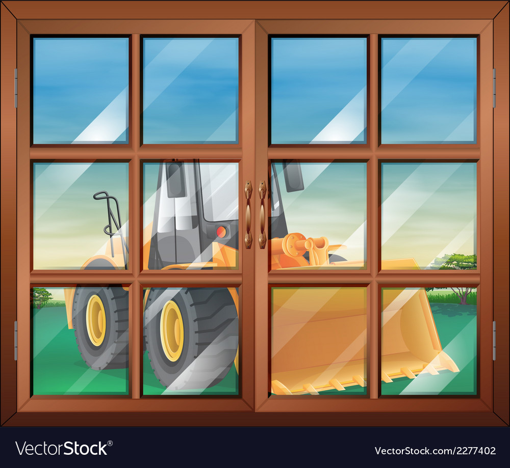 A closed window with a bulldozer vector | Price: 1 Credit (USD $1)