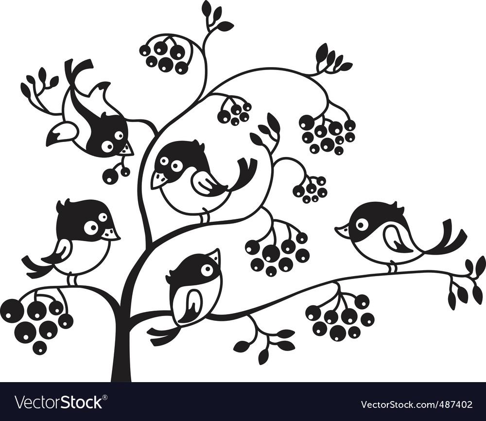 Birds on a tree vector | Price: 1 Credit (USD $1)