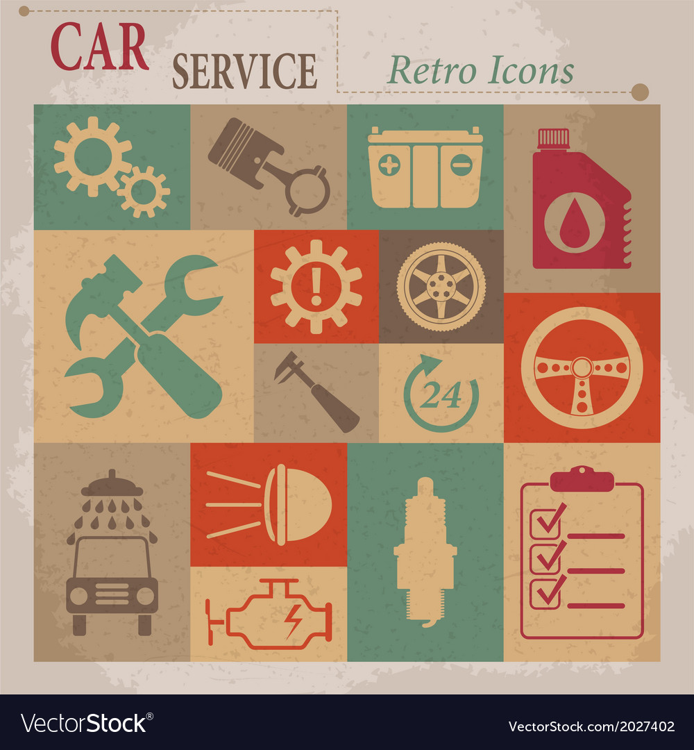 Car service maintenance flat retro icons vector | Price: 1 Credit (USD $1)