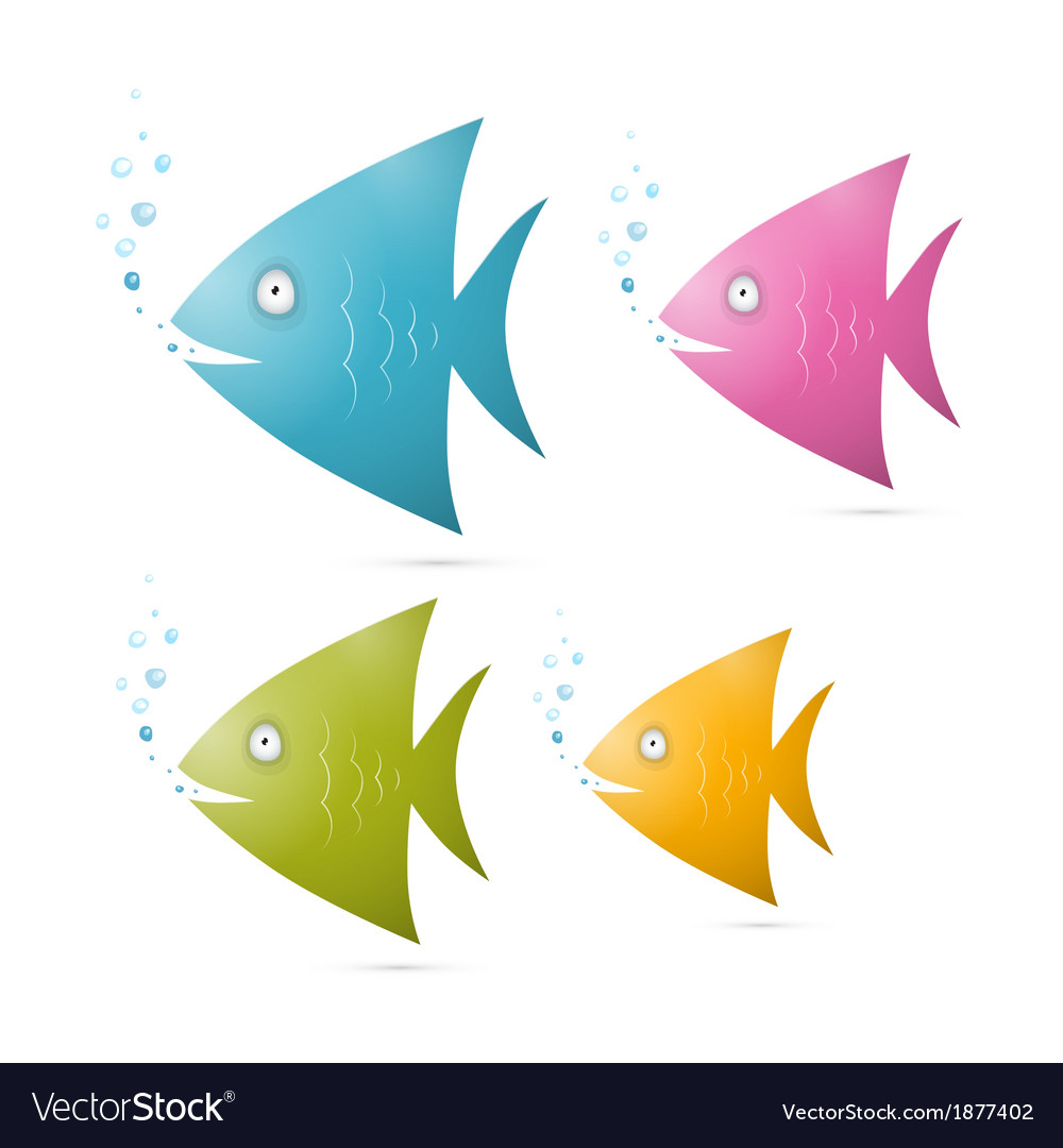 Colorful fish set isolated on white background vector | Price: 1 Credit (USD $1)
