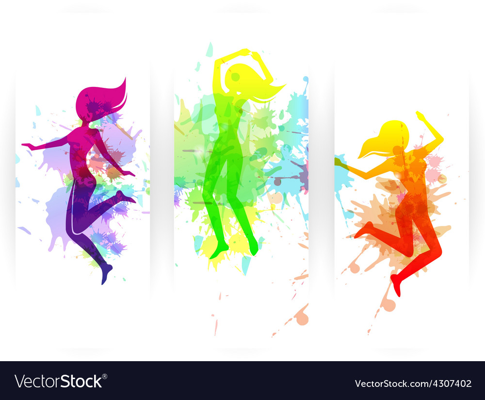 Jumping people banners vector | Price: 1 Credit (USD $1)
