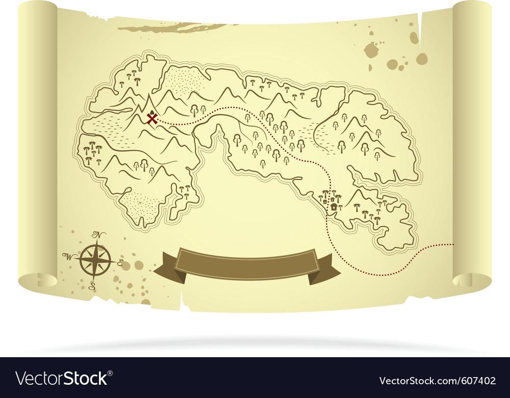 Old treasure map vector | Price: 1 Credit (USD $1)