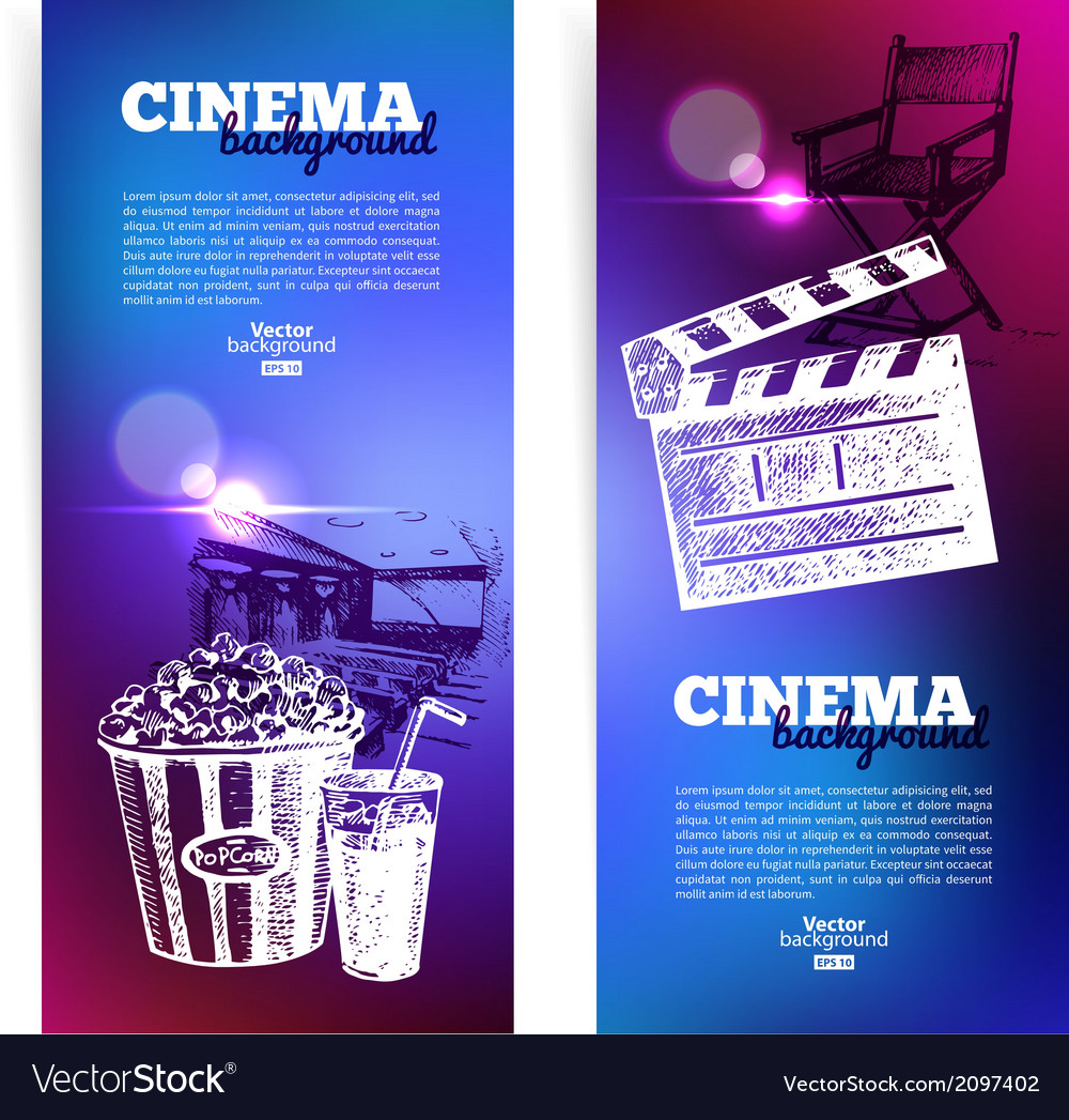 Set of movie cinema banners vector | Price: 1 Credit (USD $1)