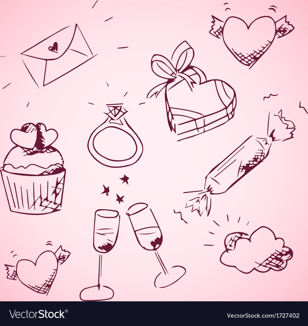 Sketchy valentine day icons vector | Price: 1 Credit (USD $1)