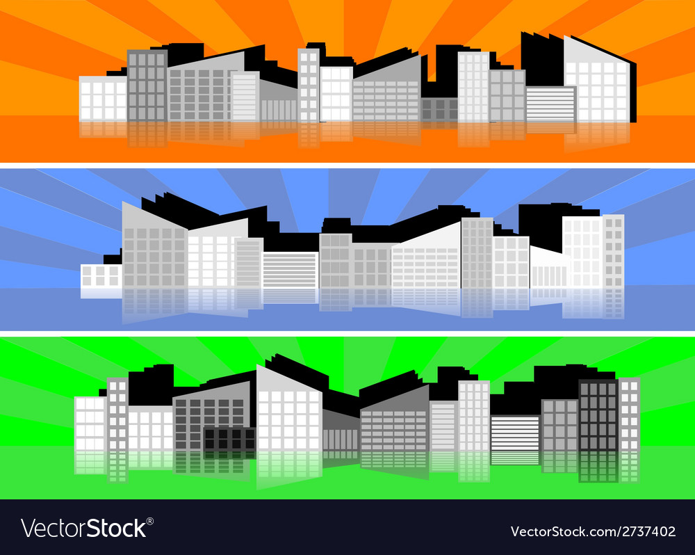 Three banners with silhouettes of cities vector | Price: 1 Credit (USD $1)