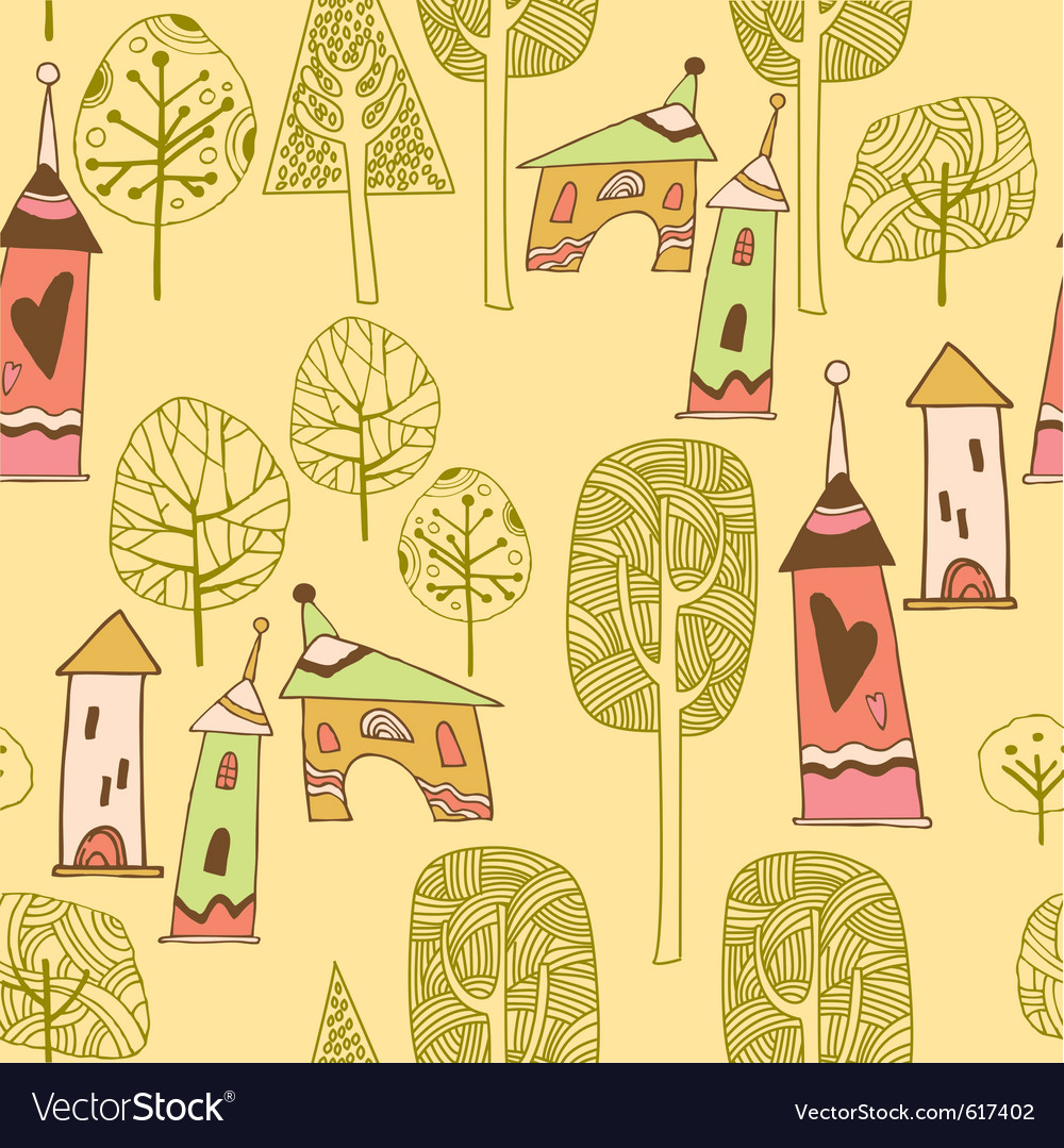 Village pattern background vector | Price: 1 Credit (USD $1)