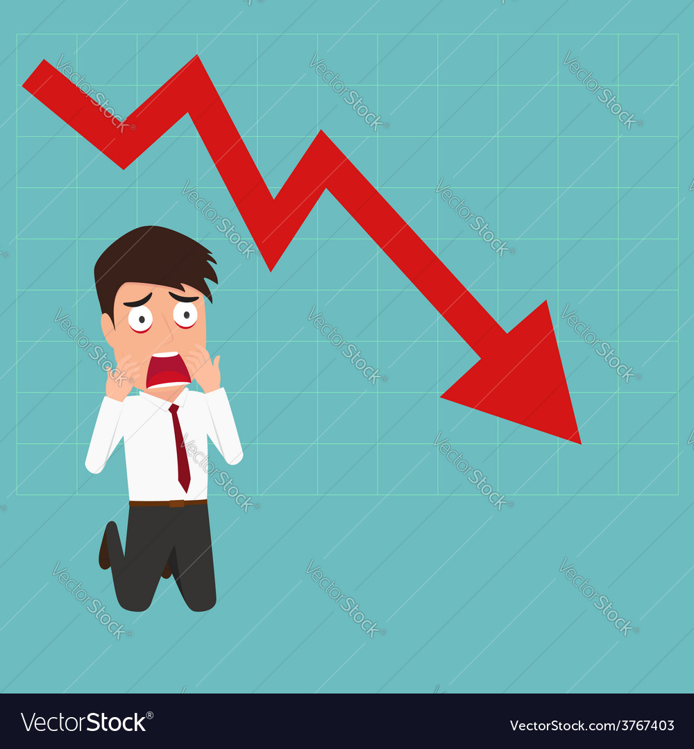 Business failure down trend graph make shocked vector | Price: 1 Credit (USD $1)