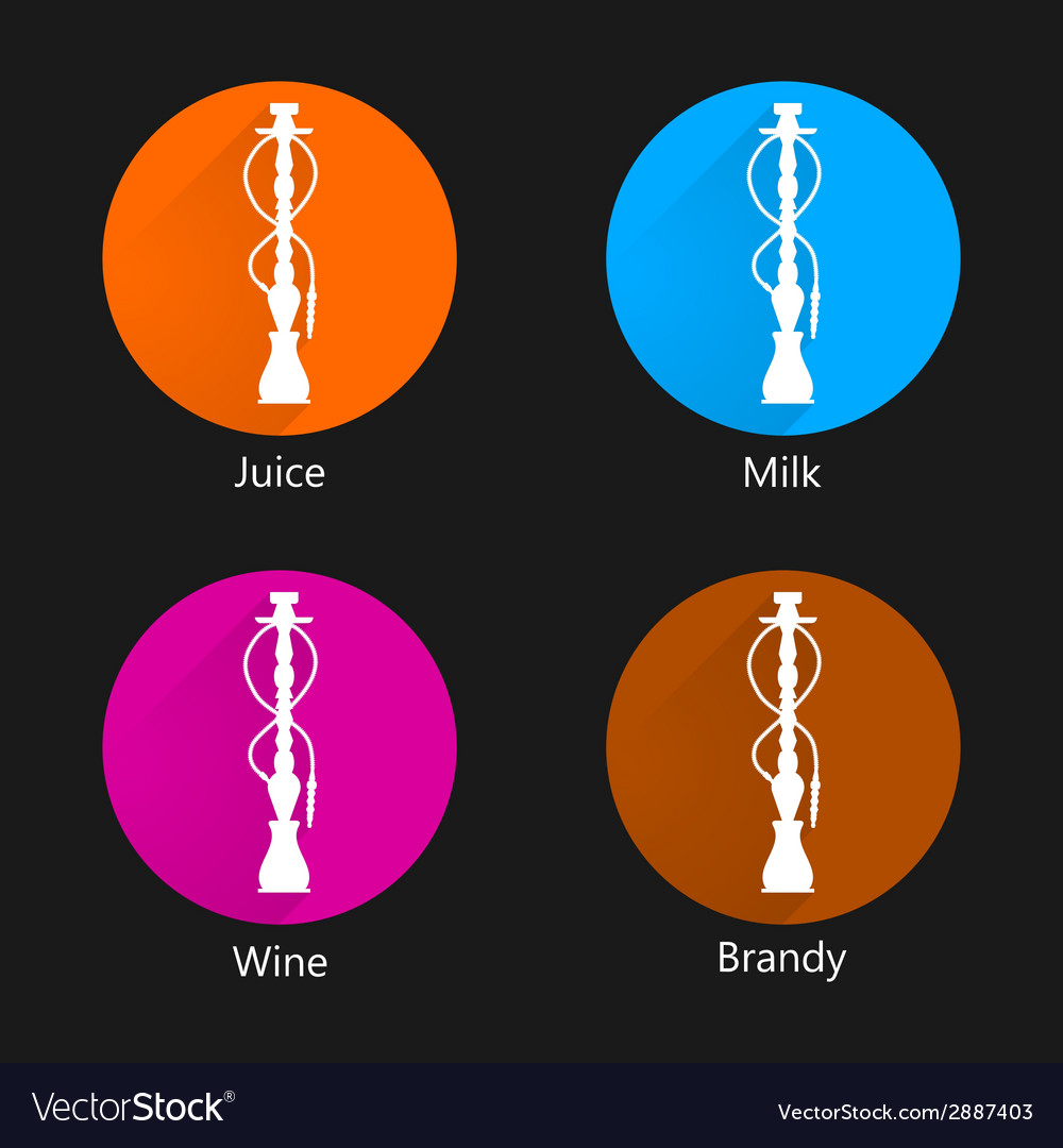Colored icons for hookah vector | Price: 1 Credit (USD $1)