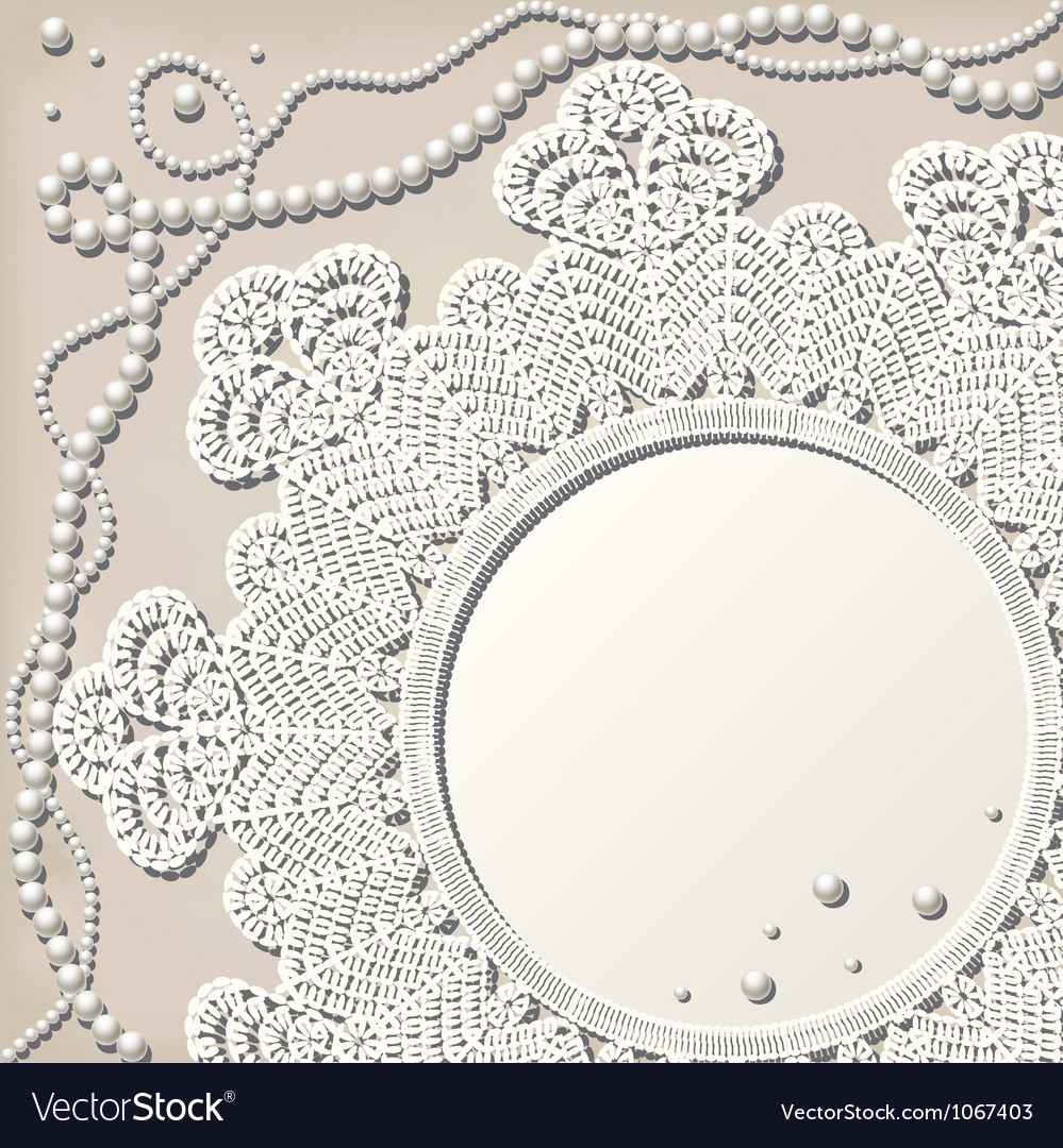 Crochet doily with pearl necklace vector | Price: 1 Credit (USD $1)