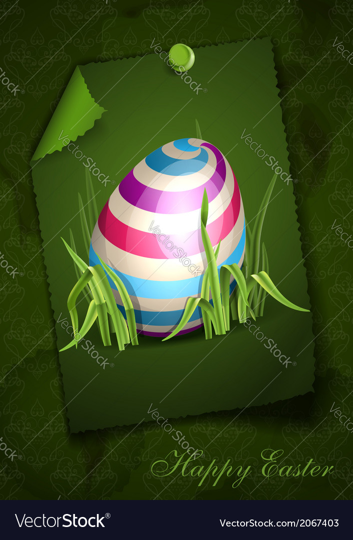 Easter background with eggs in grass vector   Price: 1 Credit (USD $1)