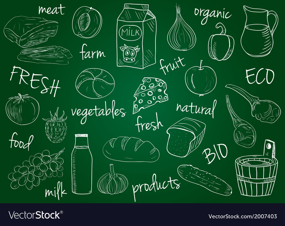 Farm products doodles school board vector | Price: 1 Credit (USD $1)