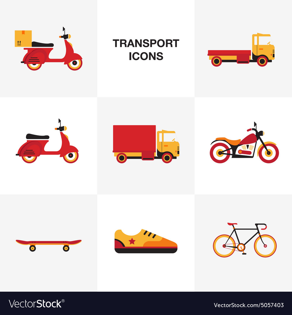 Flat transport vehicle icon set vector