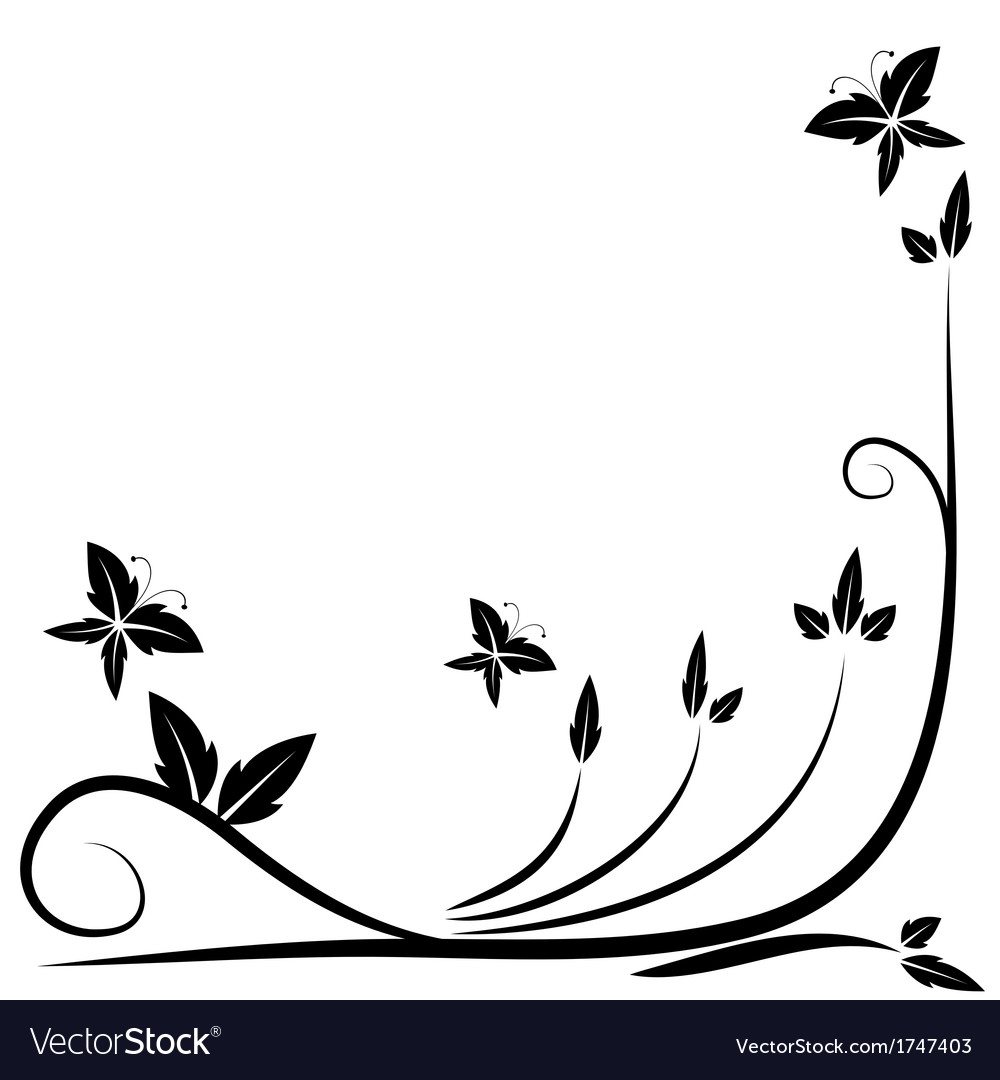 Floral black border vector | Price: 1 Credit (USD $1)