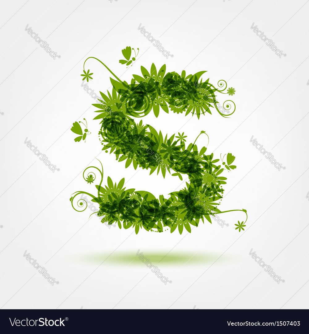 Green eco letter s for your design vector | Price: 1 Credit (USD $1)
