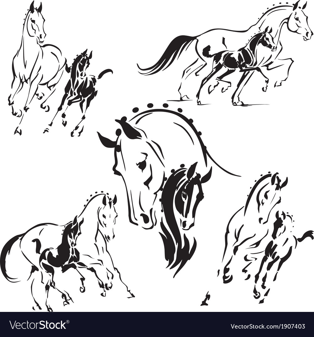Mares and foals 2 vector | Price: 1 Credit (USD $1)