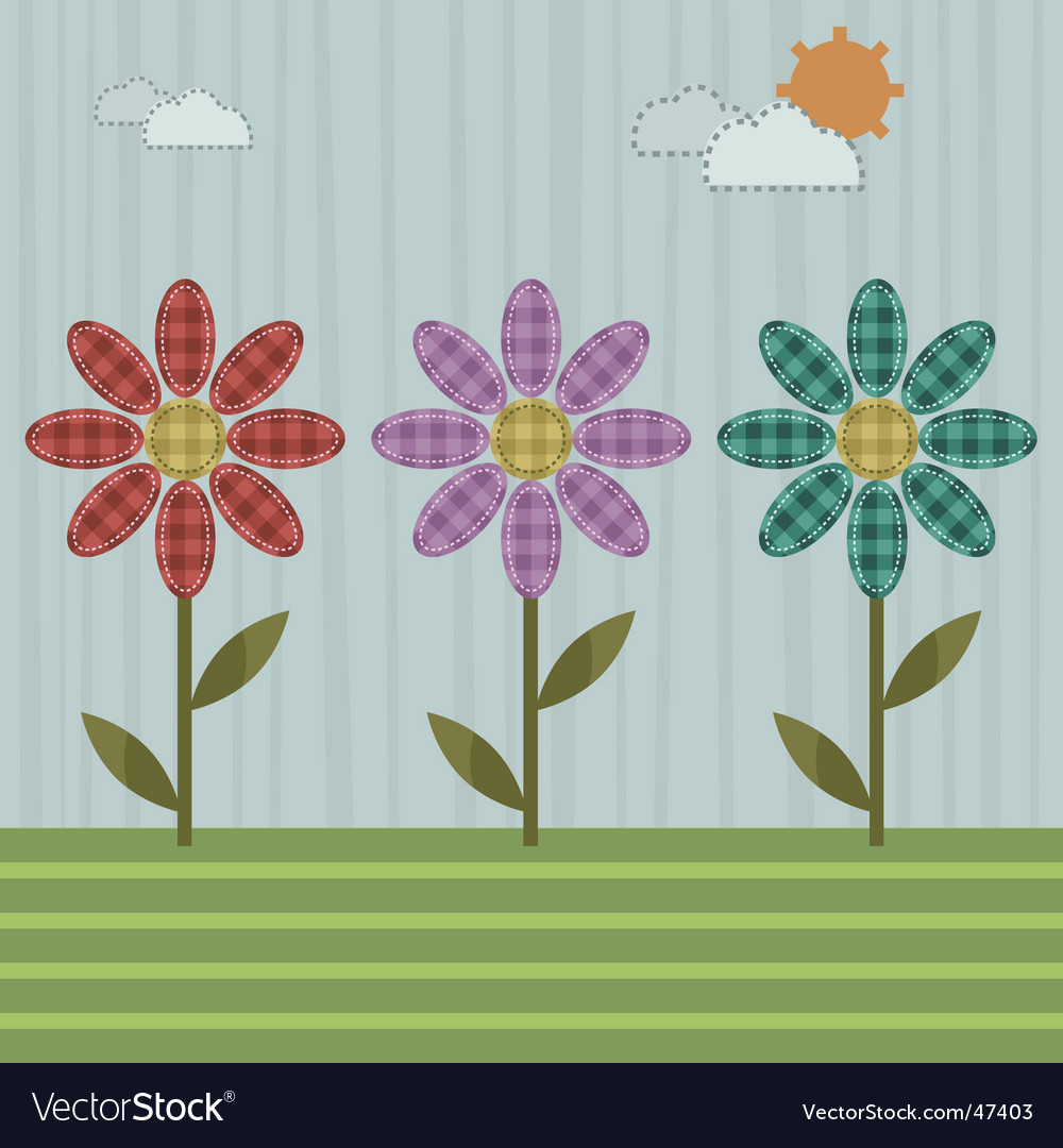 Patchwork flowers vector | Price: 1 Credit (USD $1)