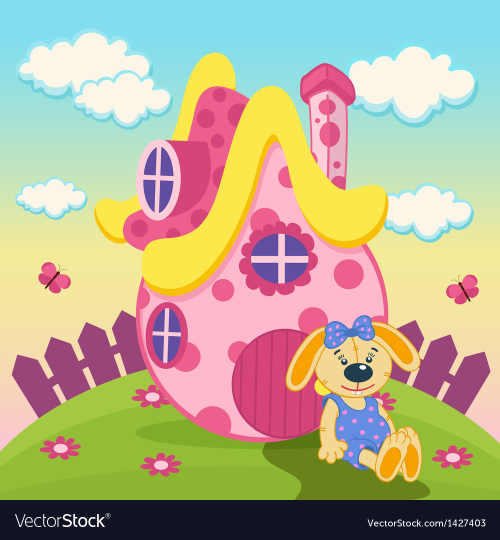 Rabbit with a pink house vector | Price: 3 Credit (USD $3)