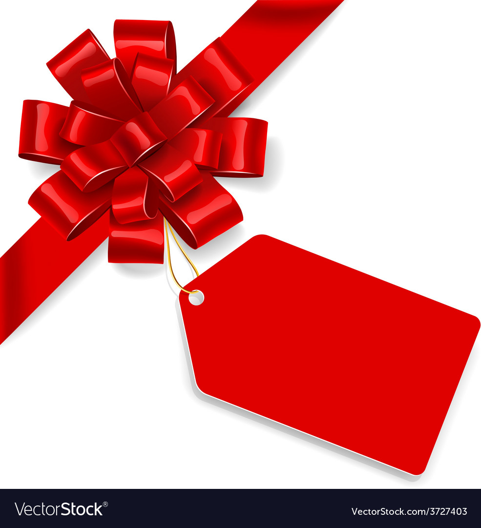 Red bow with tag vector | Price: 1 Credit (USD $1)
