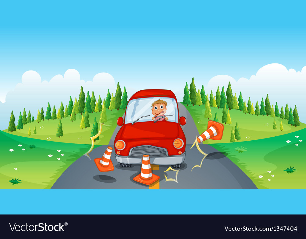 A red car at the road bumping the traffic cones vector | Price: 1 Credit (USD $1)
