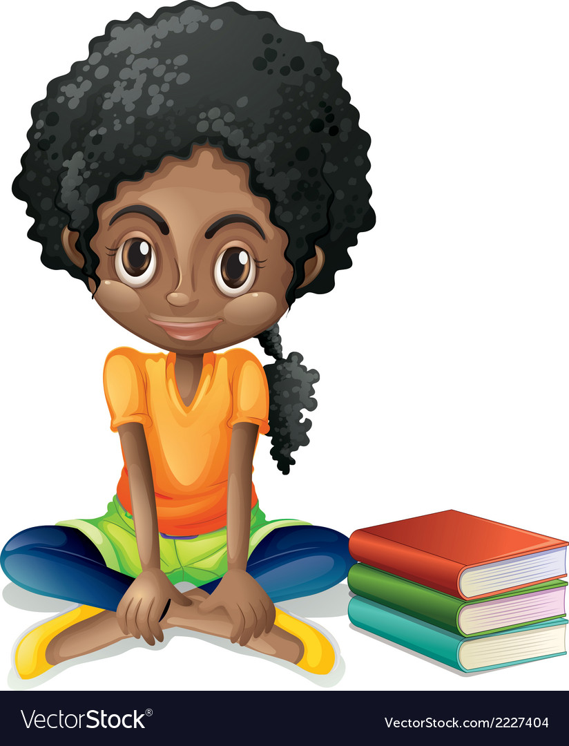 A young black girl sitting beside her books vector | Price: 1 Credit (USD $1)