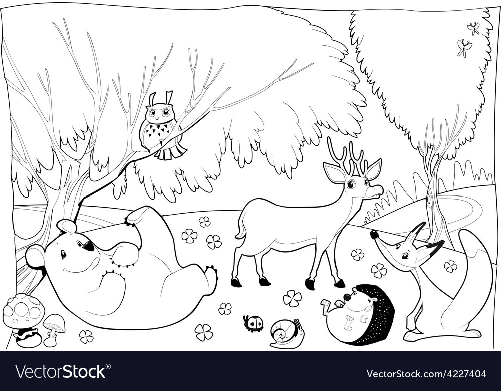 Animals in the wood black and white vector | Price: 3 Credit (USD $3)