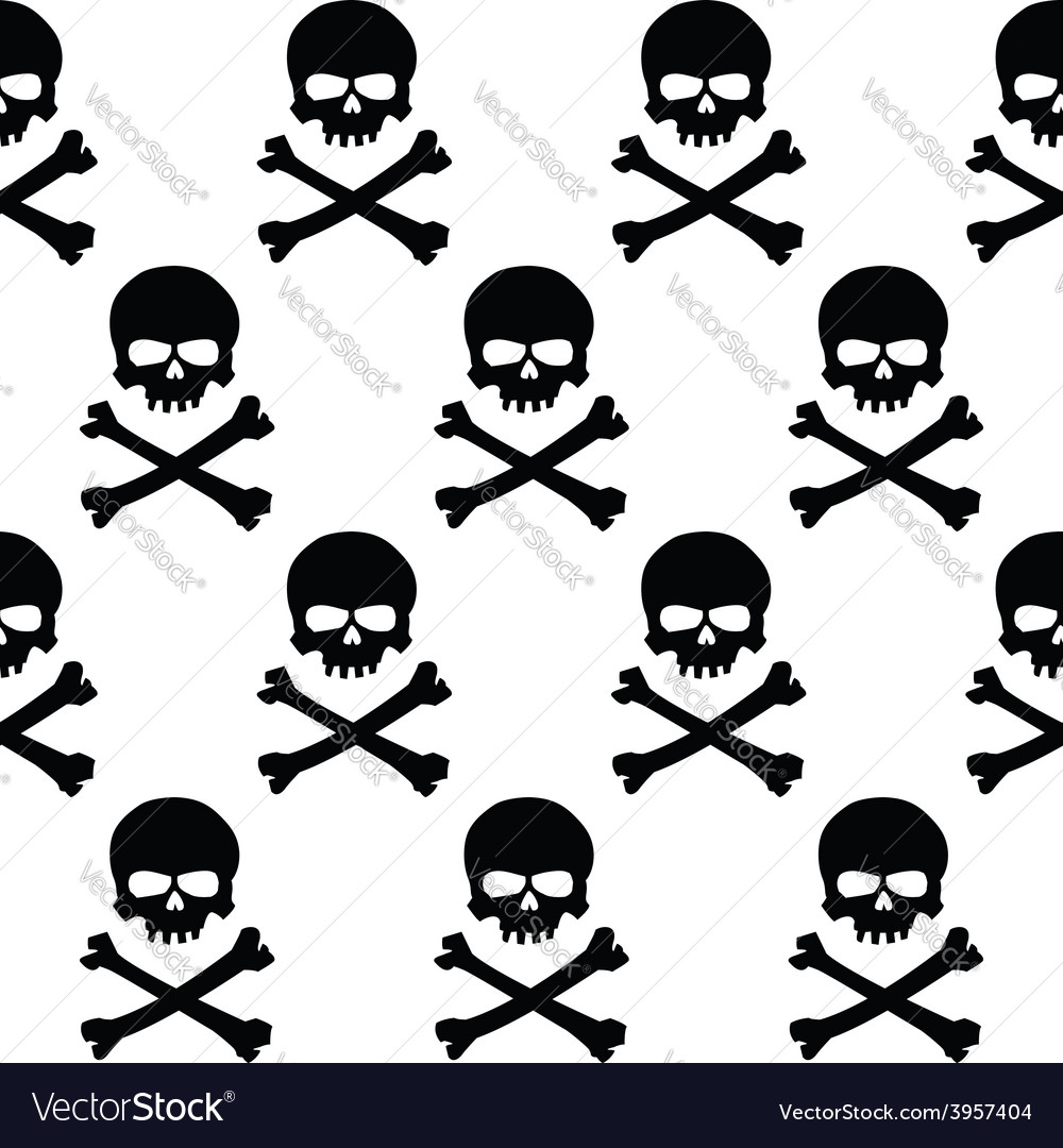 Black and white skulls background vector | Price: 1 Credit (USD $1)