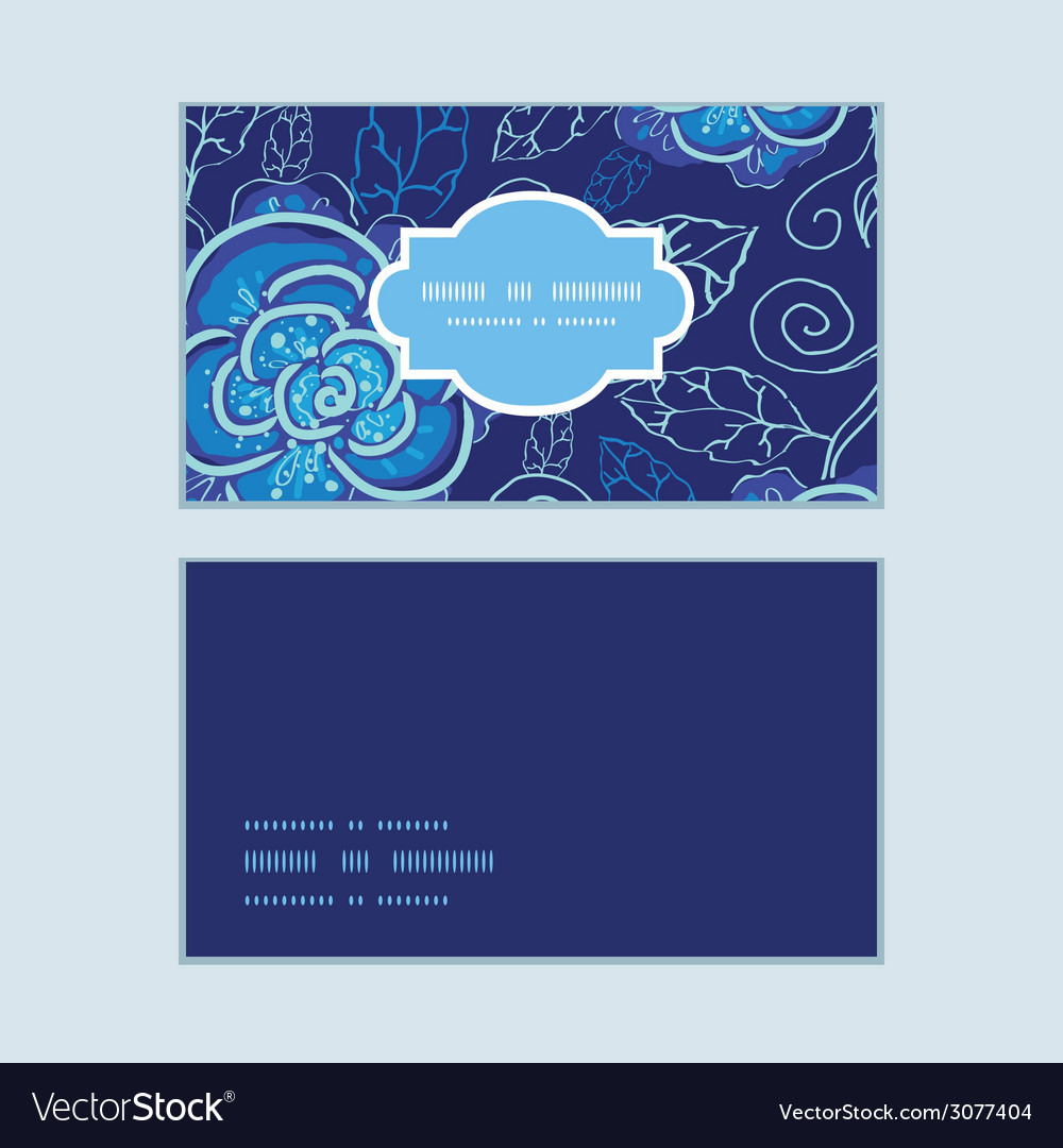 Blue night flowers horizontal frame pattern vector | Price: 1 Credit (USD $1)