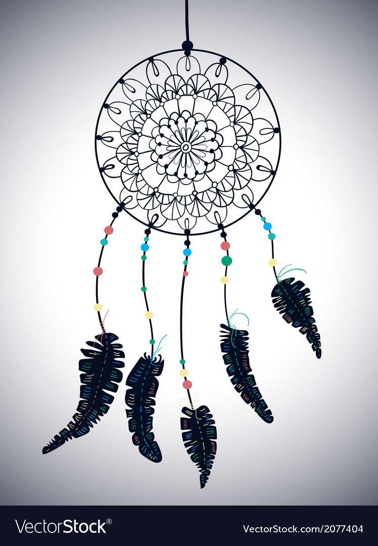 Color american indians dreamcatcher with bird vector | Price: 1 Credit (USD $1)