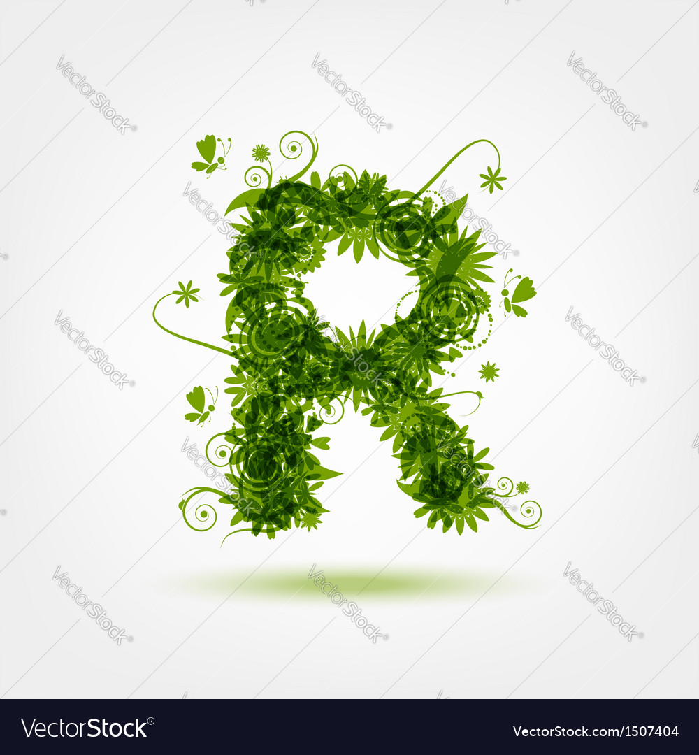 Green eco letter r for your design vector | Price: 1 Credit (USD $1)
