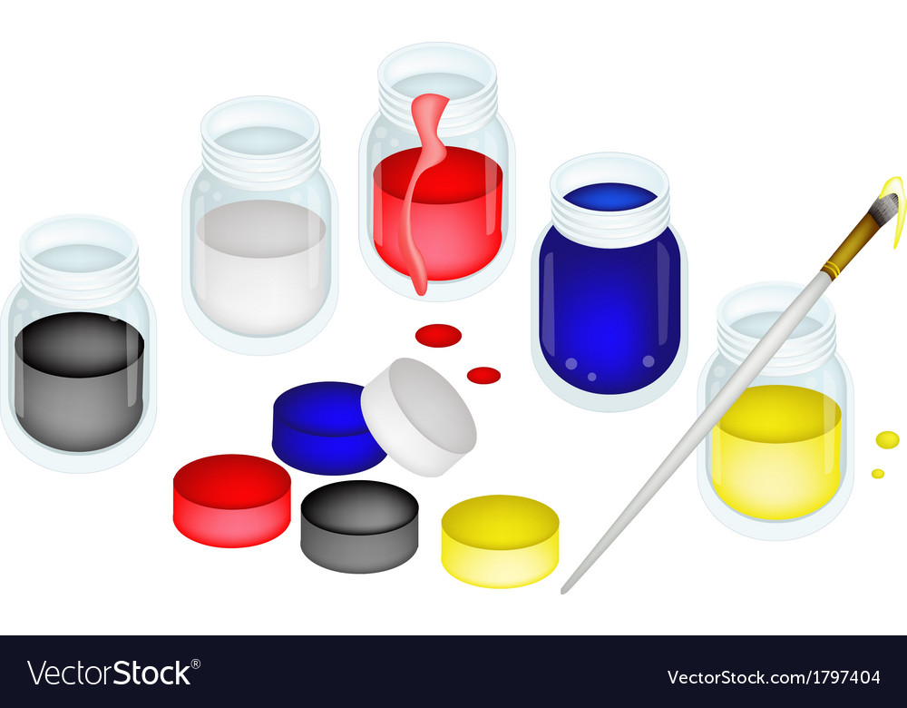 Open color paint jars with artist brushes vector | Price: 1 Credit (USD $1)