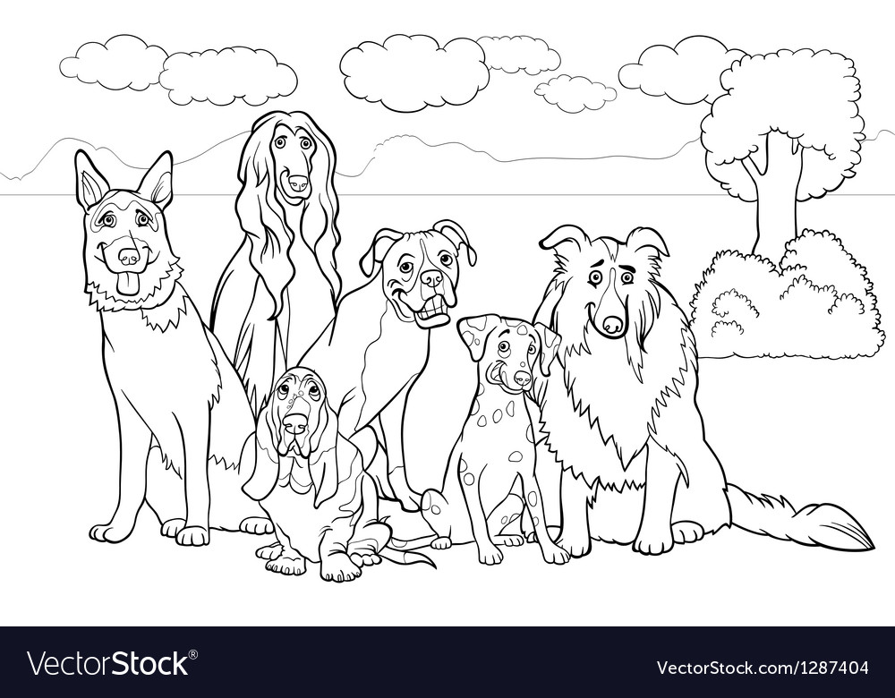 Purebred dogs cartoon for coloring book vector | Price: 1 Credit (USD $1)
