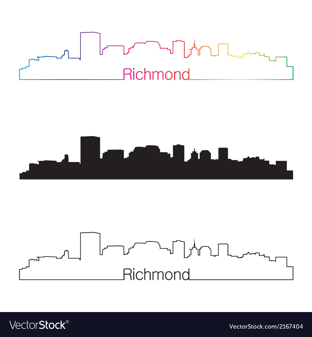 Richmond skyline linear style with rainbow vector | Price: 1 Credit (USD $1)