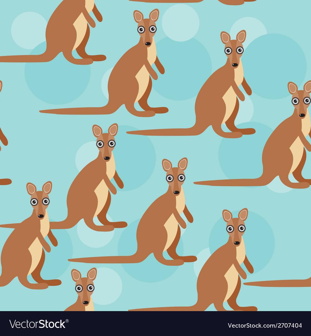 Seamless pattern with funny cute kangaroo animal vector | Price: 1 Credit (USD $1)